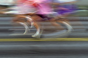 Victory Of Perseverance Framed Prints - Runners Blurred Framed Print by Jim Corwin