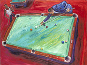 Poolhall Framed Prints - Runnin The Table Framed Print by Arthur Robins