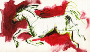 Running Horses Paintings - Running by Angel  Tarantella