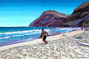 Oahu Paintings - Running at Makapuu by Douglas Simonson