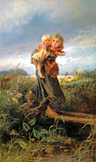 Little Girls Digital Art - Running Away Form A Thunderstorm by Konstantin Makovsky