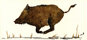 Wild Boar Paintings - Running boar by Juan  Bosco