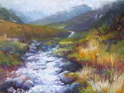 Rushing Water Paintings - Running Down - landscape view from Hatcher Pass by Talya Johnson