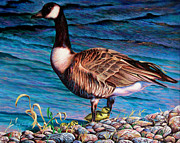 Geese Paintings - Running for Cover by Craig T Burgwardt