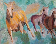 Palette Knife Reliefs Framed Prints - Running Horses  Framed Print by Vicky Tarcau
