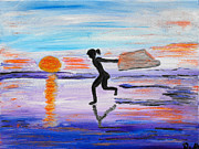 Power Girl Nude Painting Framed Prints - Running in front of the setting sun Framed Print by Agnes Roman