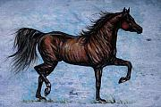 Wild Horse Drawings Posters - Running In The Blue Poster by Angel  Tarantella