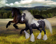 Gypsy Vanner Digital Art - Running Mates by Suzanne Amberson