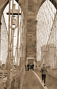 Photography Statue Photography Framed Prints - Running on Brooklyn Bridge Framed Print by RicardMN Photography