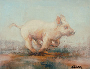 Piglet Paintings - Running Piglet by Ellie O Shea