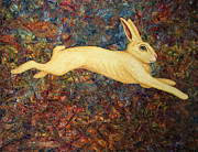 Cute Painting Metal Prints - Running Rabbit Metal Print by James W Johnson