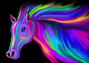 Horses Digital Art - Running Rainbow Stallion2 by Nick Gustafson