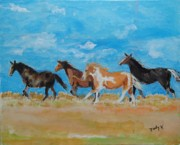 Horses Metal Prints - Running WIld Metal Print by Judy Kay