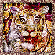 Red Tiger Posters - Rupee Tiger Poster by Carol Leigh