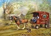 Horse And Cart Digital Art Metal Prints - Rural Deliveries Metal Print by Trudi Simmonds