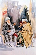 Gathering Drawings Framed Prints - Rural Elderly Gathering  Framed Print by Hafiz Ashna