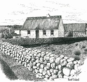 Pen And Ink Rural Framed Prints - Rural Irish Cottage Framed Print by Jimmy McAlister