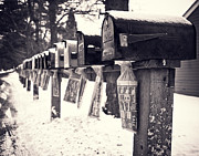 Country Lane Prints - Rural Mailboxes Print by Edward Fielding