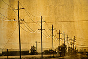 Old Time Framed Prints - Rural Power Lines Framed Print by Matt  Trimble