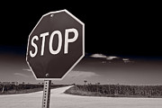 Stop Sign Photo Prints - Rural Stop Sign BW Print by Steve Gadomski