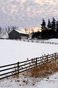 Barn Photos - Rural winter landscape by Elena Elisseeva