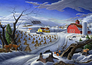 Corn Paintings - Rural Winter Landscape Farm 5x7 greeting card by Walt Curlee