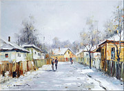 Romania Paintings - Rural Winter by Petrica Sincu