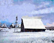 Barn Digital Art Prints - Rural Winter Scene Print by Anthony Caruso