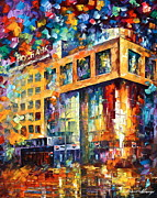 Moscow Painting Metal Prints - Rusbank Moscow Metal Print by Leonid Afremov