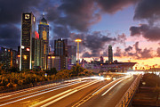 Light Trail Prints - Rush Hour during Sunset in Hong Kong Print by Lars Ruecker
