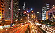 Light Trails Framed Prints - Rush Hour in Hong Kong Framed Print by Lars Ruecker