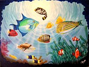 Puffer Fish Paintings - Rush Hour In The Reef by Carlos Granela