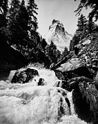 Switzerland Digital Art - Rushing stream and Matterhorn Alps by Digital Reproductions