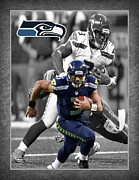 Seahawks Posters - Russell Wilson Seahawks Poster by Joe Hamilton
