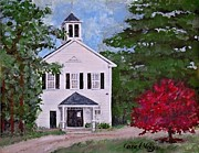 Library Painting Originals - Russells Mills Library  by Carol Veiga