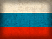 Russia Mixed Media Prints - Russia Flag Distressed Vintage Finish Print by Design Turnpike