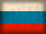 Russia Mixed Media Prints - Russia Flag Vintage Distressed Finish Print by Design Turnpike