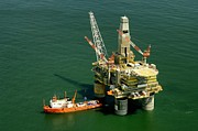 Sea Platform Prints - Russia Oil Platform Rig Boat Ship Sea Ocean Print by Paul Fearn