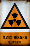 Russian Beware Of Radiation Sign In Metal Print by Oliver Sved