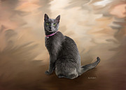 Paint Photograph Painting Posters - Russian Blue Cat Poster by Angela A Stanton
