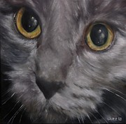 Paws Painting Originals - Russian BluE by Cherise Foster