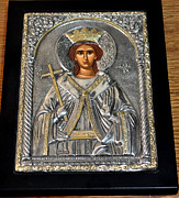 Icon Byzantine Photo Framed Prints - Russian Byzantin Icon Framed Print by Jay Milo