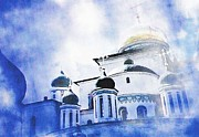 Orthodox Christian Framed Prints - Russian Church in a Blue Cloud Framed Print by Sarah Loft