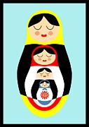 Catherine White Drawings Posters - Russian doll matryoshka Poster by Patruschka Hetterschij