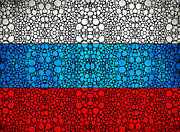 Russian Flag - Russia Stone Rock'd Art By Sharon Cummings Print by Sharon Cummings