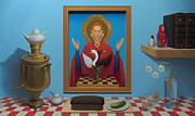 Russian Icon Painting Posters - Russian Iconic welcome - Warmness of cold Poster by Boris Giulian