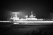 Winter Night Framed Prints - russian pelagic trawler fishing boat alferas out of murmansk tied up at Tromso harbour troms Norway  Framed Print by Joe Fox