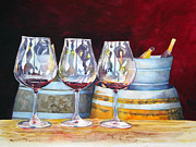 Wine Bottle Paintings - Russian River Wine Tasting by Richelle Siska