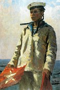 Oil Print Reproductions Mixed Media Prints - Russian Sailor Print by Jake Hartz