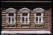 Log House Prints - Russian Windows Print by Alan Toepfer